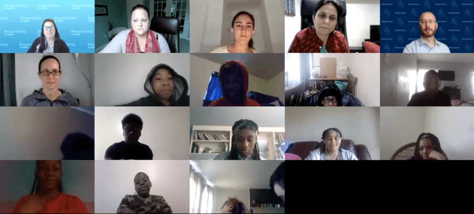 Students on Zoom presentation call